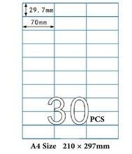 50 hojas de A4 etiqueta engomada 70X29,7mm 30 piezas en una A4 de A4 impresión autoadhesiva de la etiqueta engomada dirección etiqueta para impresora láser de inyección de tinta