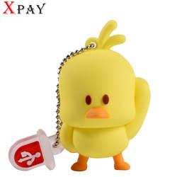 USB флэш-накопитель 32 GB желтая утка USB2.0 64 Гб памяти 4 GB 8 GB 16 GB флэш-накопитель подарок мультфильм 128 GB флешки резиновые U диска