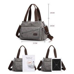Image 2 - Холщовые дамские сумочки, повседневные Хобо на одно плечо, винтажные однотонные сумки через плечо с несколькими карманами для девушек