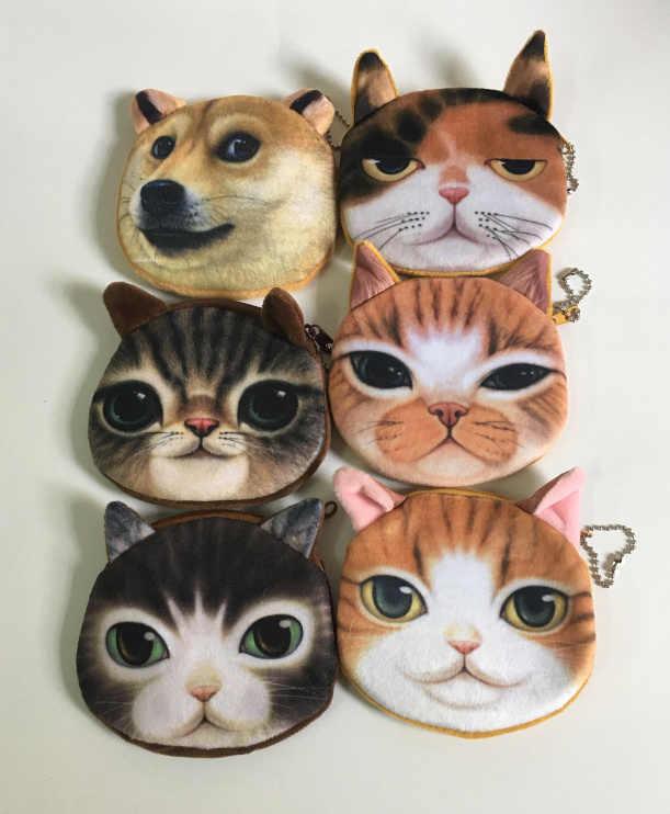 Super CUTE 3D Loài Vật-Cát Coin BAG Purse, 10 CM Chó Plush Coin Túi Xách Wallet Pouch Nhỏ Túi Xách; bolsa de moeda monedero gato