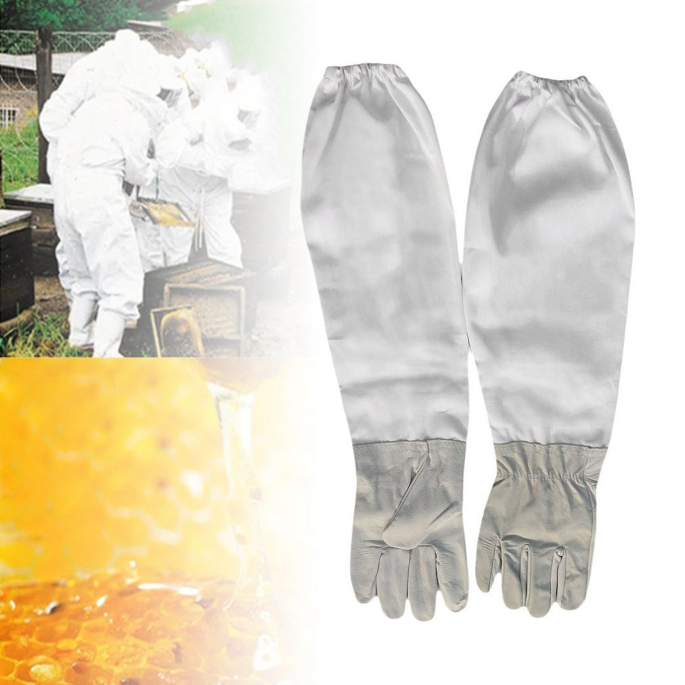 все цены на Beekeeping Gloves Leather Protective Equipment Gloves With Elastic Cuffs Vented Extra Long Sleeves For Garden Farm Forest онлайн