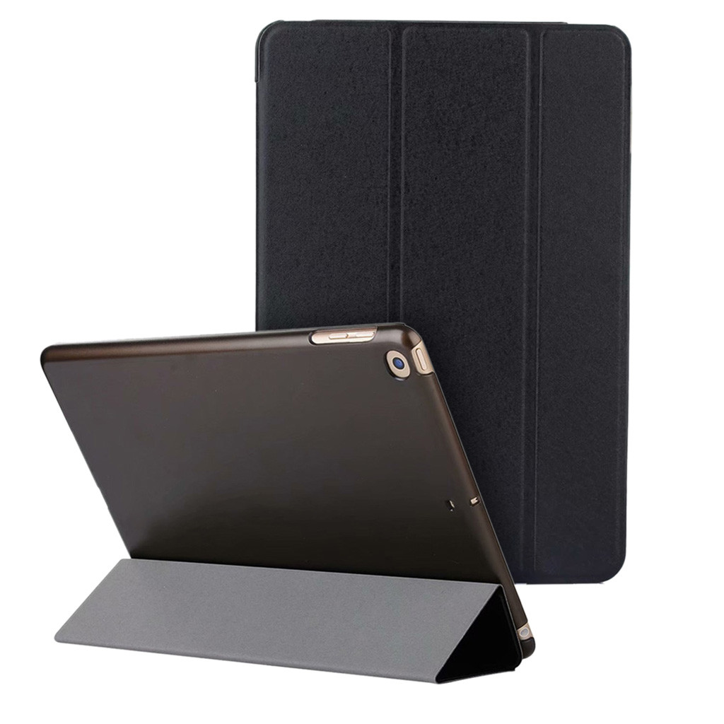 Ultra thin magnetic leather smart case three fold translucent matte back cover for iPad 6th generation 2018 9.7 2017 5th