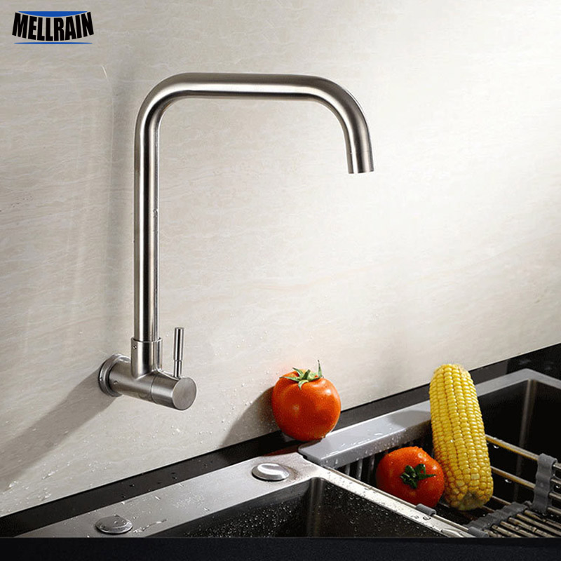 US $23.99 30% OFF|Wall Mounted Kitchen Single Cold Faucet Stainless Steel  Brushed Sink Water Tap 360 Degree Rotatable Quality Tapware-in Kitchen ...