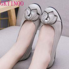 GKTINOO PLUS ขนาด (34 43) สบายๆผู้หญิงของแท้หนังแบนรองเท้ารองเท้าผู้หญิงพยาบาลทำงานรองเท้าผู้หญิงแฟลต 6 สี