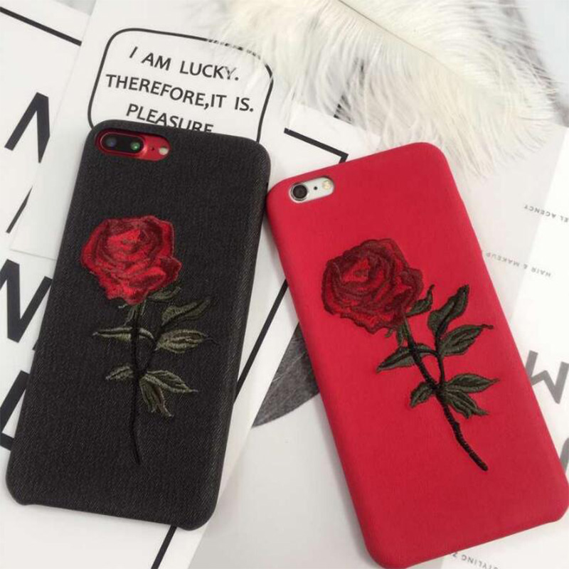New fashion for iphone6,6ps, 6p, 6splus Embroidered Rose Cell Phone Case for iphone7,7plus
