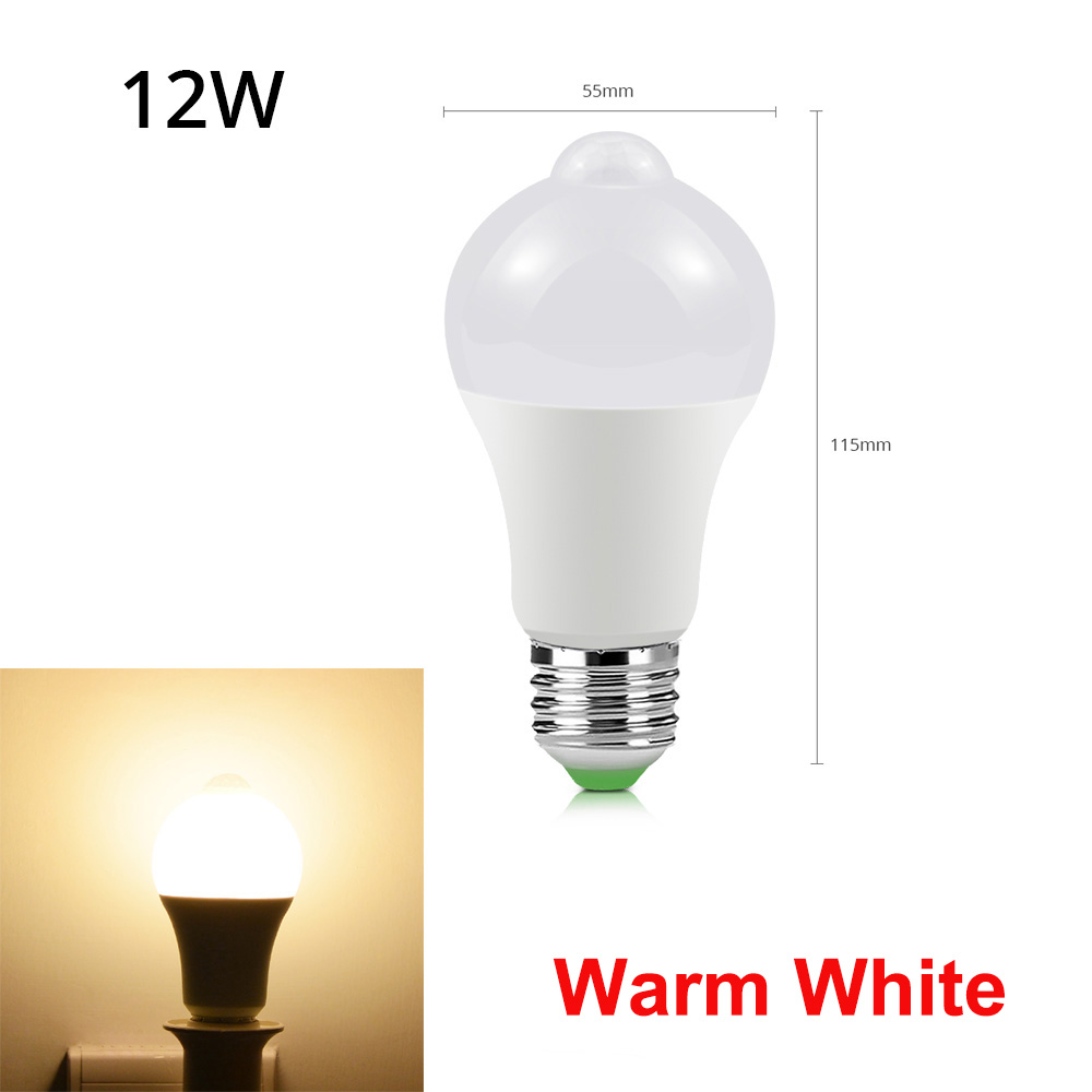 12 Вт, 18 Вт, датчик движения, светодиодный светильник для лестничных коридоров, 110 В, 220 В, для прохода, дверного проема, инфракрасный, индукционный, светодиодный, Ночной светильник, Сенсорная лампа - Испускаемый цвет: 12W Warm White