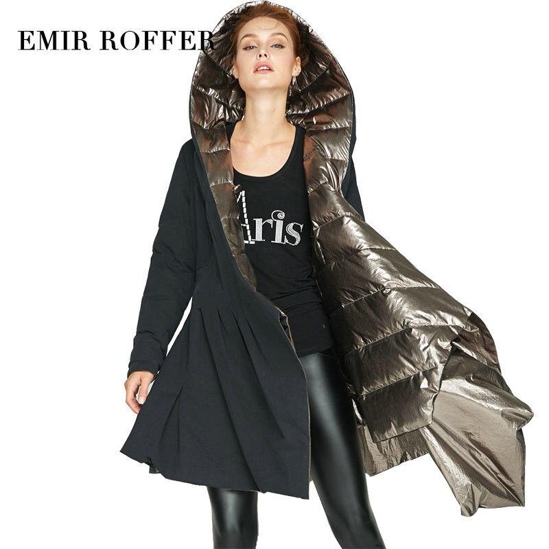EMIR ROFFER 2018 European Winter Down Jacket Women Fashion Double Sided Asymmetric Long Hooded Coat Female Outerwear Clothing
