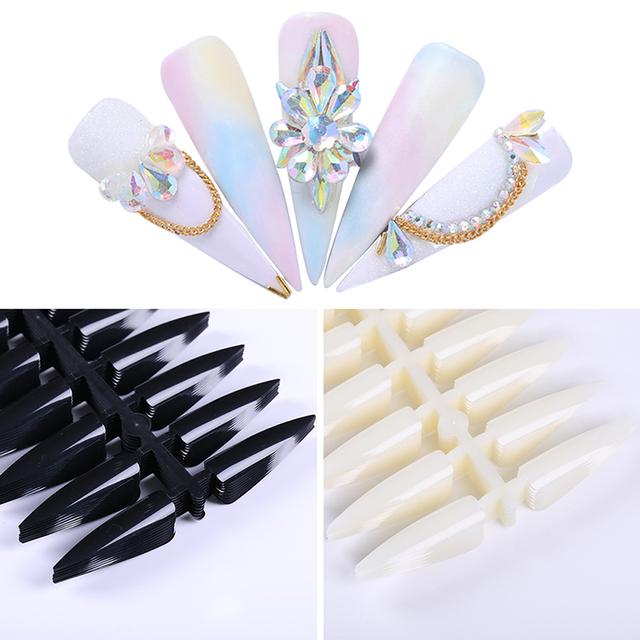 240Pcs Stiletto False Nail Tips Long Transparent Black Full Cover Fake Nails Salon Tips Manicure Practice Display Tools