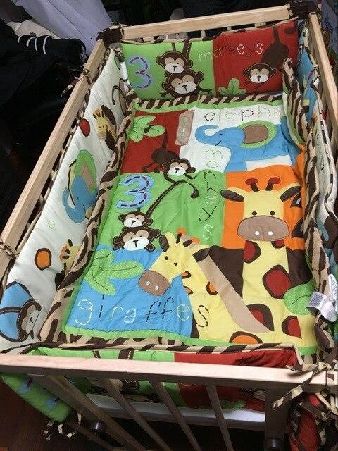 8 Pieces Unisex Baby Bedding Set Forest Giraffe Monkeys Quilt Bumper