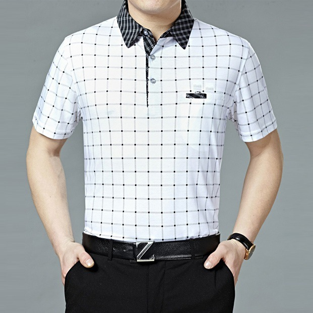 2016 new summer polo homme Lang brand Mens Short Sleeve polo shirts Lapel men's Plaid mercerized breathable cotton shirts