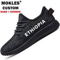 ETIYOPYA erkek ayakkabı diy ücretsiz custom made adı numarası eth ayakkabı milleti bayrağı et logo etiyopya amharic baskı çift rahat ayakkabı