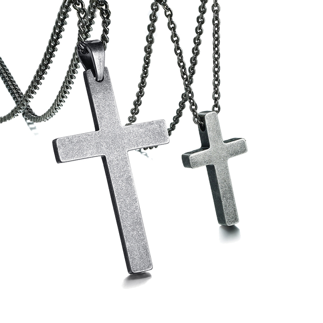 bdc53abaa7 His and Hers Couples Crorss Necklaces Set Stainless Steel Antique Silver  Color Jesus Christ Crucifix Pendant Necklace Jewelry