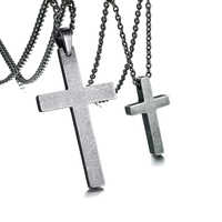 His and Hers Couples Crorss Necklaces Set Stainless Steel Antique Silver Color Jesus Christ Crucifix Pendant Necklace Jewelry