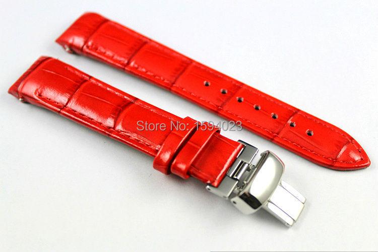 18mm (Schnalle16mm) T035210 T035207 Hochwertige silberne Schmetterlingsschnalle + rotes echtes Leder Uhrenarmband Armband für T035 Frau