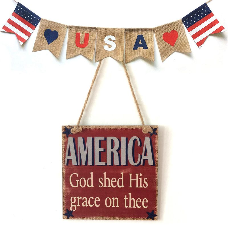 Image 5 - Rustic Wooden Hanging Plaque Sign Board America God Shed His Grace On Thee Room Wall Door Home Decoration Gift-in Plaques & Signs from Home & Garden