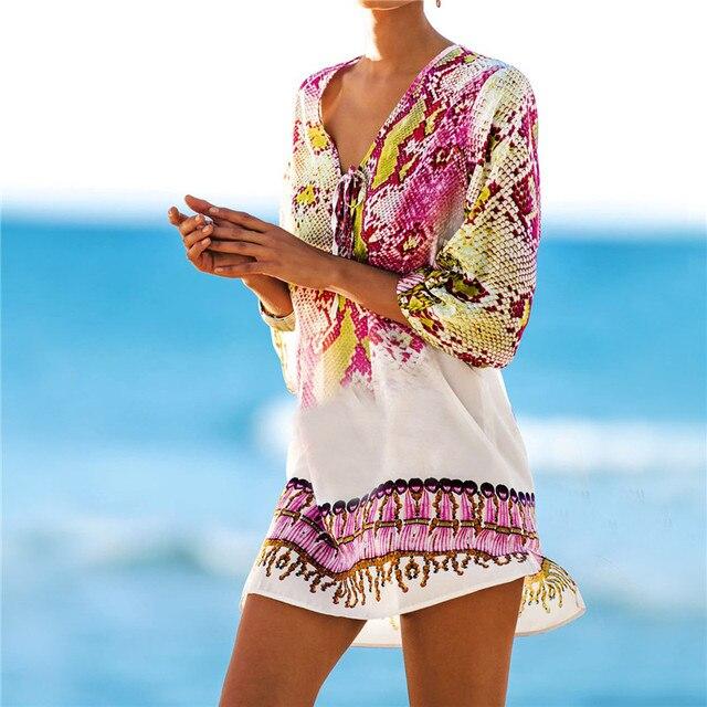 e6bd51ddadb Beach Caftan Swimsuit Cover up Print Chiffon Pareo Women Robe Plage  Swimwear Dress Sexy Sarong Beach Tunic New Arrivals