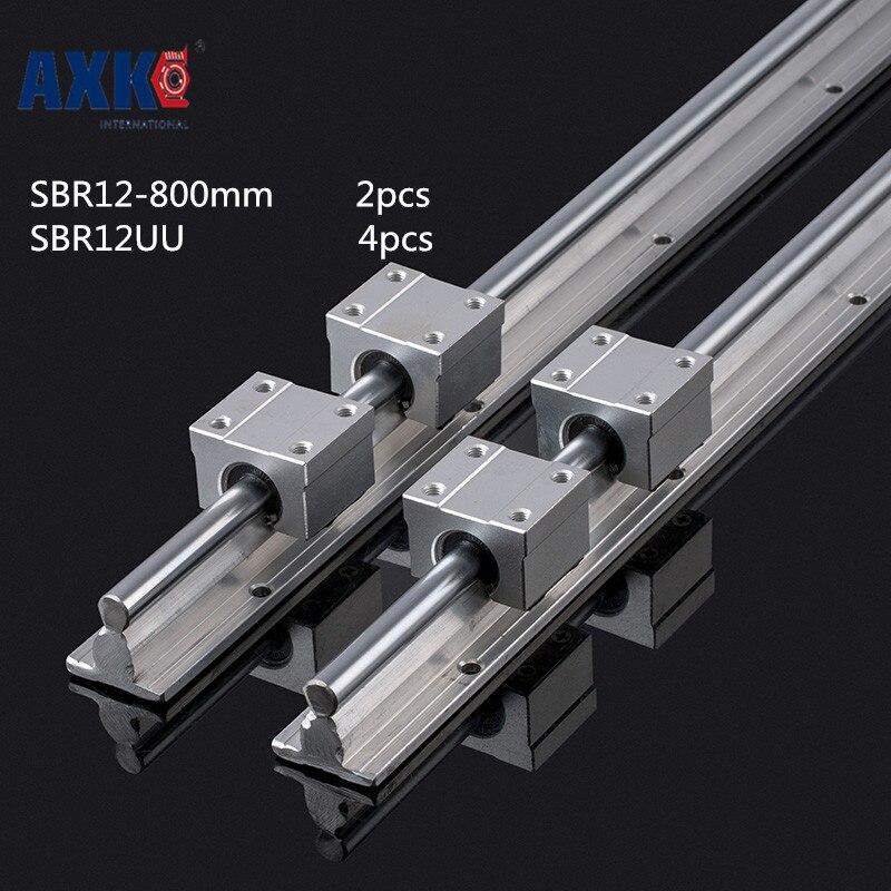 2018 Sale Axk Cnc Router Parts Axk 12mm Linear Rail Sbr12 L 800mm Support Rails 2 Pcs + 4 Sbr12uu Blocks For Cnc For Shaft free shipping 2 pcs linear guide sbr12 l linear rail shaft support and 4 pcs sbr12uu linear bearing blocks for cnc parts