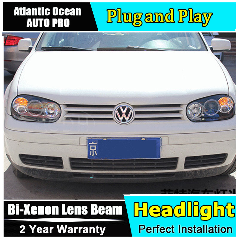 AUTO.PRO for vw golf 4 98-05 headlights Angel Eyes light + xenon lens LED car light H7 h1 led light car styling electric car motorcycle 15w led headlights modification lens light 12 60v