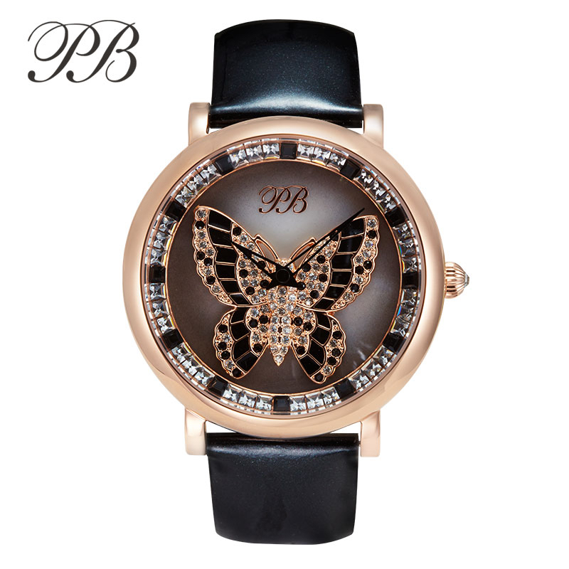 PB Princess Butterfly Luxury Elegant Ladies Watch Crystal Butterfly Dial Water Resistant Leather Strap Quartz Womens WatchesPB Princess Butterfly Luxury Elegant Ladies Watch Crystal Butterfly Dial Water Resistant Leather Strap Quartz Womens Watches