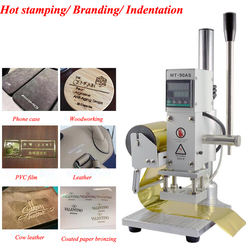 Hot Foil Stamping Machine Manual Bronzing Machine Leather Paper  Wood Embossing Stamping Logo Press Machine WT 90AS|  - title=