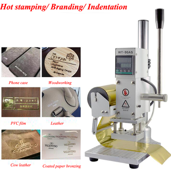 Press Trainer Hot Foil Stamping Machine Manual Bronzing Machine Leather Paper Wood Embossing Stamp Logo Press Machine WT-90AS zonesun zs110 slideable workbench digital leather pvc paper hot foil stamping bronzing embossing machine heat press machine