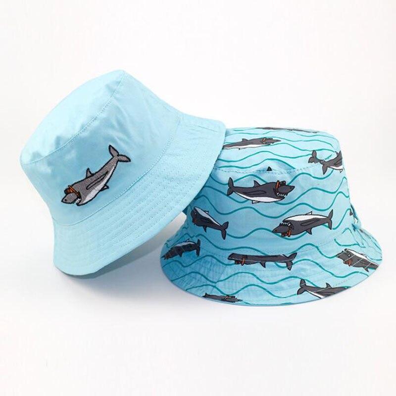 AB Side Cartoon Shark Cotton Bucket Hats for Baby Boys 2019 Summer Sun Kids Panama Hat Wide Brim Lovely Beach Caps 1-5 Y