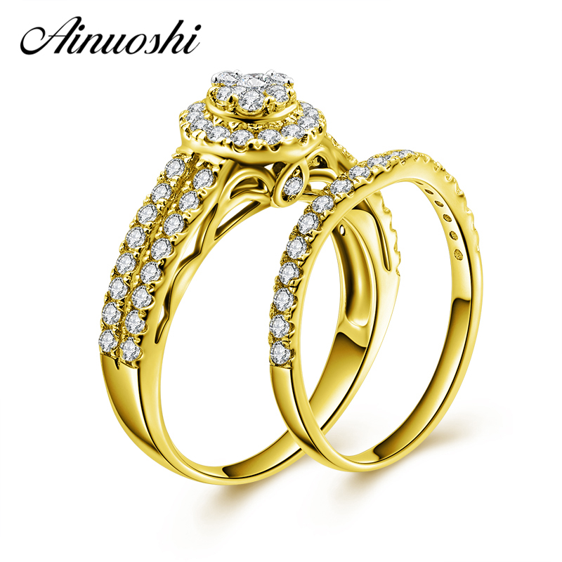 AINUOSHI 10k Solid Yellow Gold Bridal Ring Set Round Cut Brilliant Top SONA Diamond Engagement Wedding Ring Set Jewelry Present AINUOSHI 10k Solid Yellow Gold Bridal Ring Set Round Cut Brilliant Top SONA Diamond Engagement Wedding Ring Set Jewelry Present
