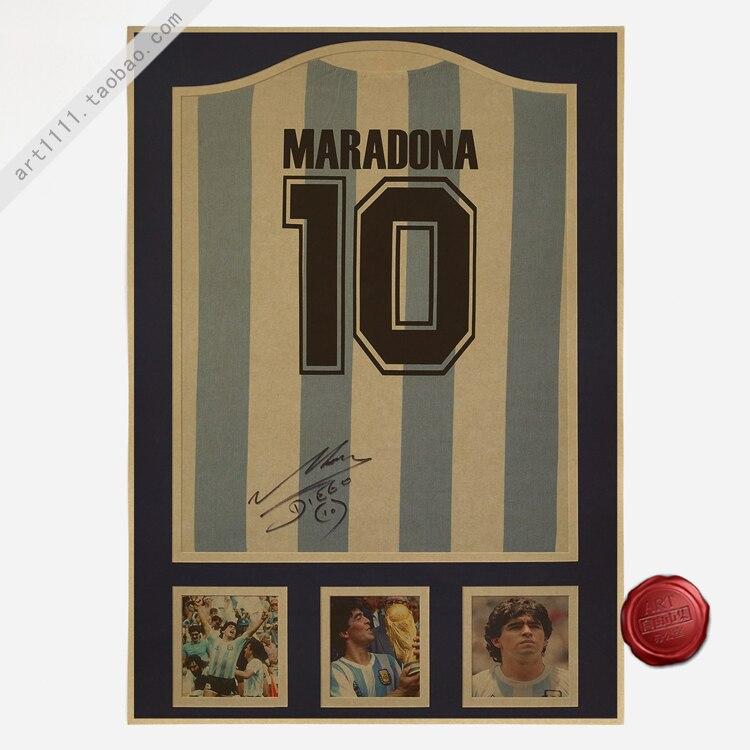 Maradona 10 Vintage Football Poster Home Decoration Detailed Antique Poster Wall Chart Retro Matte Kraft Paper Wall Sticker