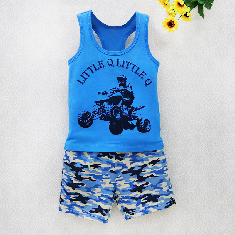 2018 Little Q Boys Clothing Set Baby Clothes Children Sleeveless 100% Cotton Vest+Shorts summer infant outfits