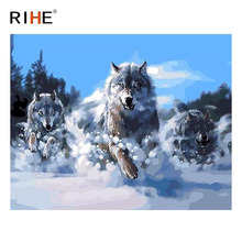 RIHE Wolf Running Diy Painting By Numbers Animal Oil On Canvas Snowfield Hand Painted Cuadros Decoracion Acrylic Paint