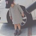 Осень Дети 0-4 лет женский детская одежда Хлопка полосатые с длинными рукавами Девушки одеваются ребенок дна платье девочка платье