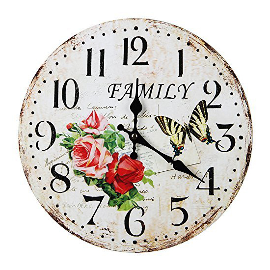 Wall Clock Vintage Shabby Chic Animals And Flowers Style 34cm Wall Clock  Home Bedroom Retro Kitchen