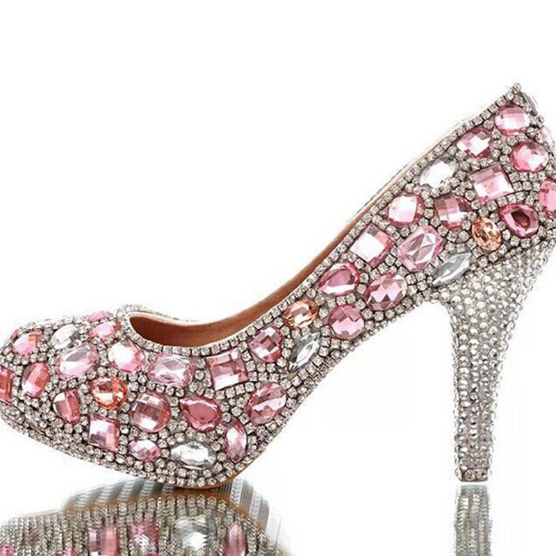 Gorgeous Rhinestone High Heels Beautiful Pink Crystal Bridal Shoes Handmade Luxury Lady Evening Prom Girl Birthday Party Shoes