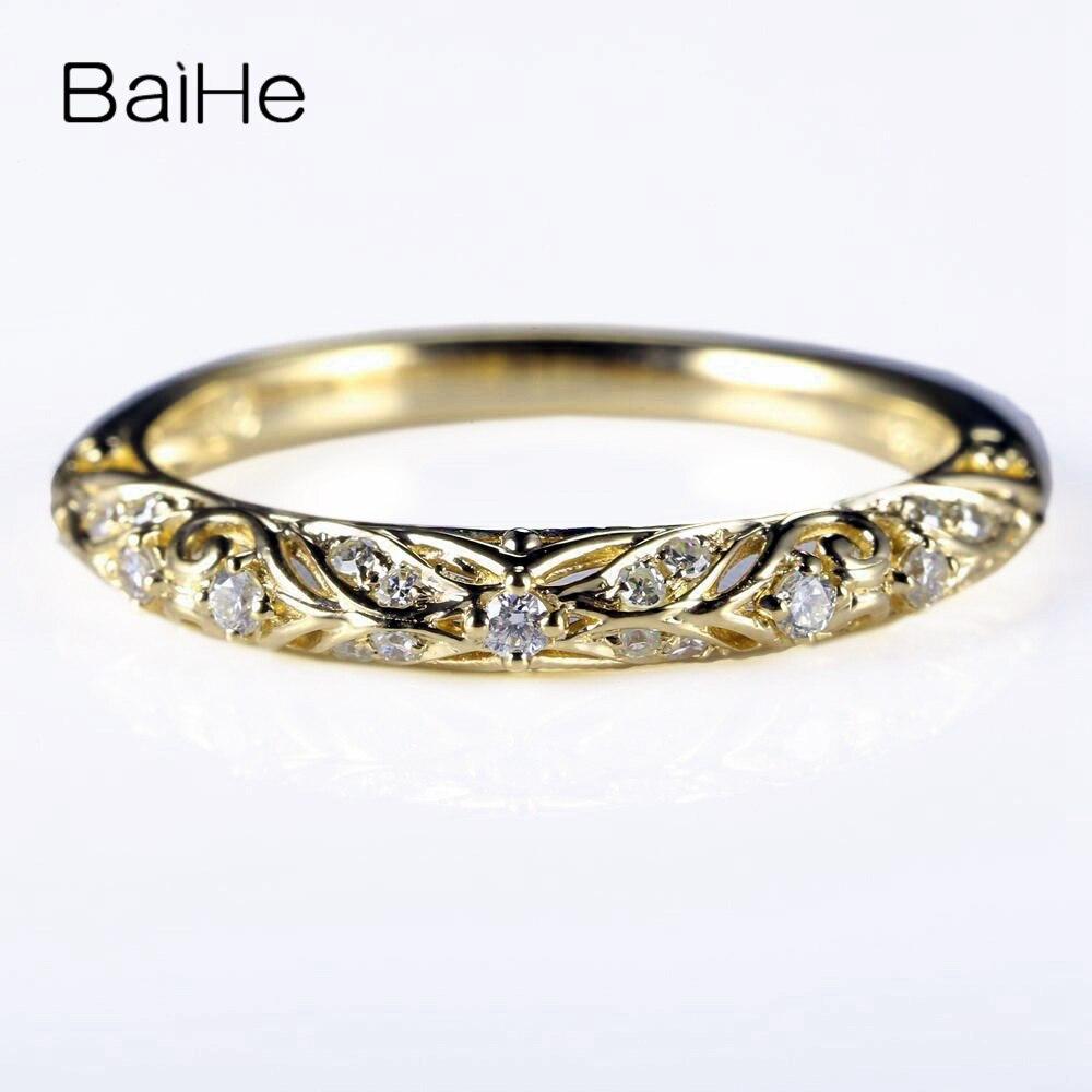 BAIHE Art Nouveau Solid 14 k желтое золото 100% натуральные бриллианты юбилейное обручальное кольцо украшения для помолвки Подарочное кольцо