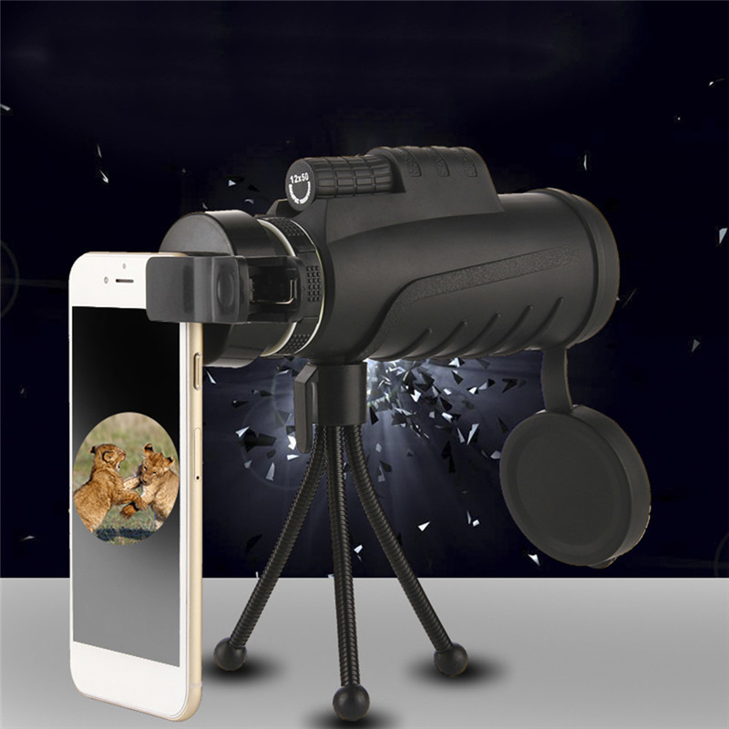 12X50 High-magnification Dual-focus Monocular Telescope Outdoor Sport Hunting Camping Telescope for Mobile Phone Photography