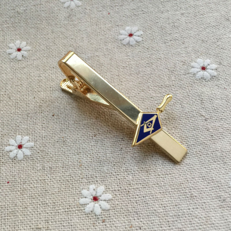 Trowel Masonic Freemason Tool Masonry Square and Compass freemasonry Men's Neck ties Clips Bar bar tie clip breast pin clasps