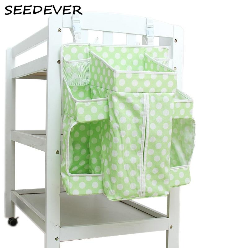 Baby Crib Hanging Bags Diaper Organizer Dot Print Cribs