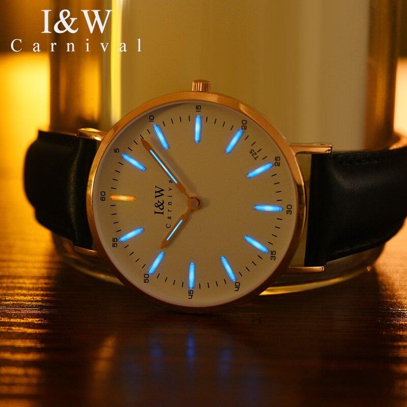 Fashion Ultra thin Ladies Watch CARNIVAL Tritium Watch Imported Quartz Movement Sapphire Leather Strap Waterproof Women Watches - 3