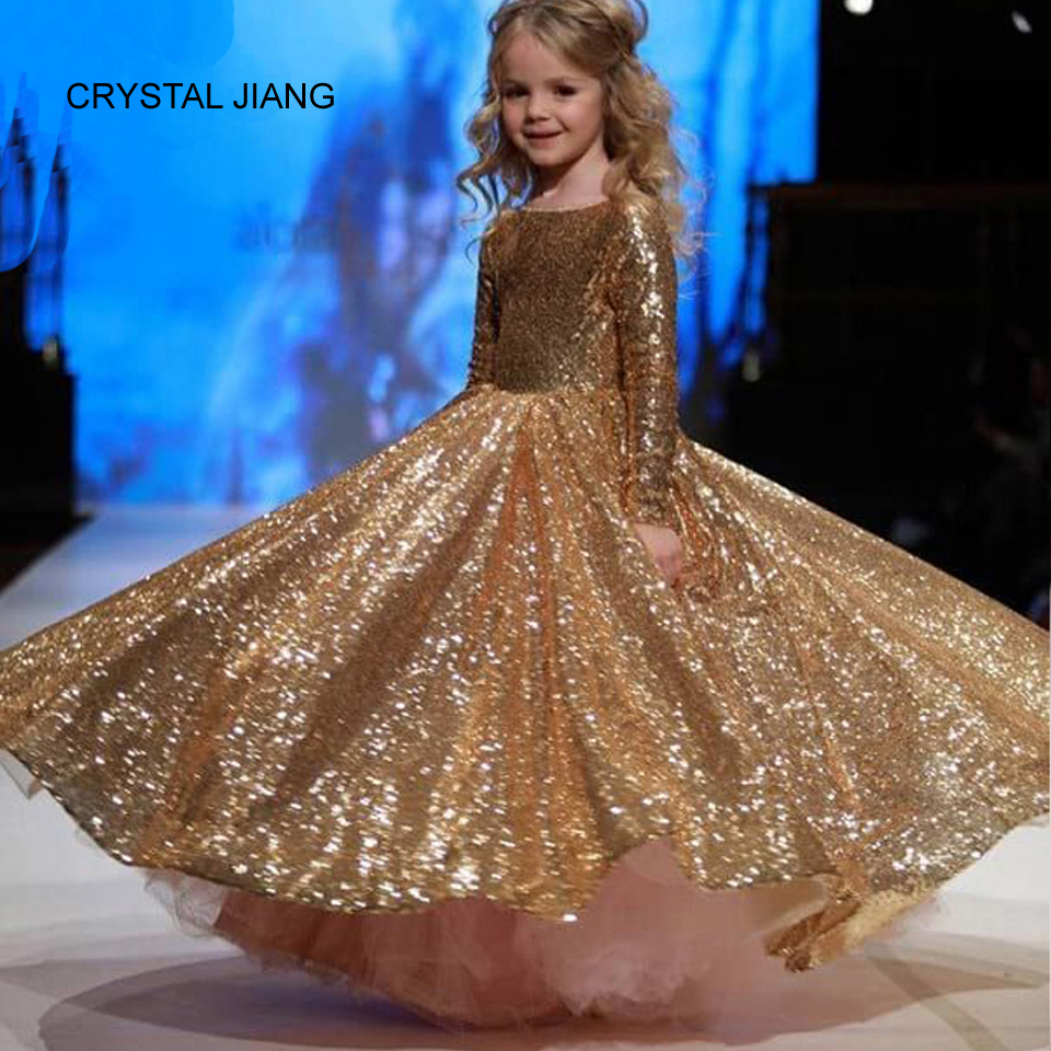 CRYSTAL JIANG 2019 New Design Boat Neckline Gold Sequin Lace Long Sleeves Ball Gown Fashion   Flower     Girl     Dresses