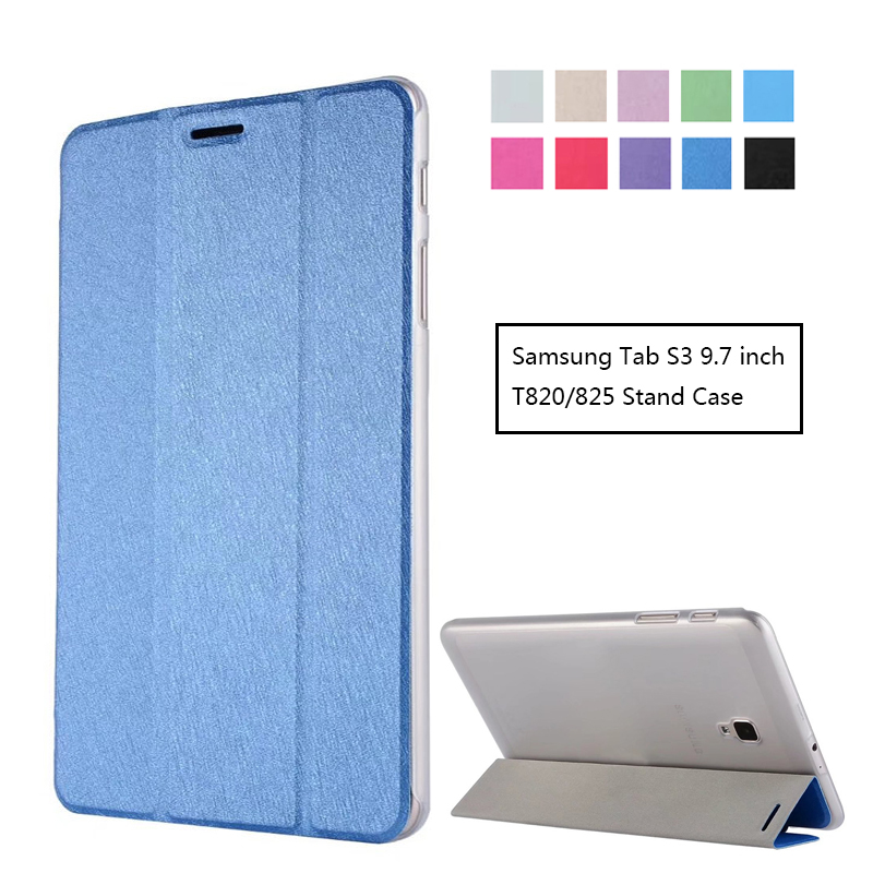 For Samsung Galaxy Tab S3 9.7 T820 T825 Flip Cover Transparent Back Case For Tab S3 9.7'' Ultra Slim Smart Cover Stand Case pu leather handheld smart cover case for samsung for galaxy tab s3 new for samsung for galaxy tab 3 9 7 case cover stand