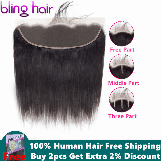 Bling Hair Straight Hair 13*4 Lace Frontal Closure Brazilian Human Hair Closure Free Part With Baby Hair 100% Remy Natural Color