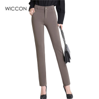 2016 Autumn Winter Women Office Work Pants High Stretch Cotton Ladies Pants Thicken Female High Waist