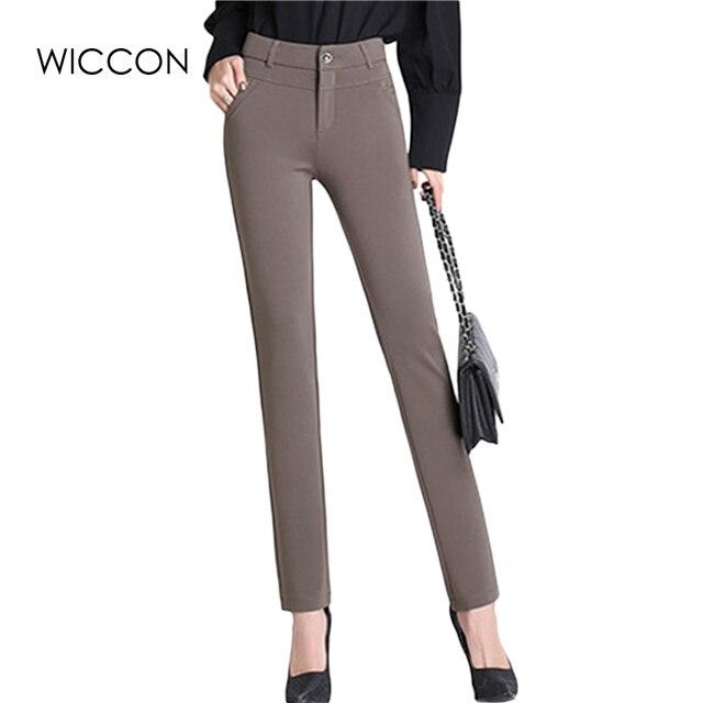 Демисезонный брюки женские офисные работы высокого стрейч хлопок дамы Брюки утепленные женские Высокая Талия Брюки wiccon