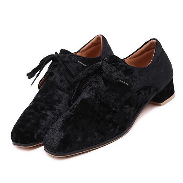 HEE GRAND Platform Velvet Oxfords Lace-Up Casual Shoes Woman Vintage Flats Low Heels Women Brogue Shoes Size 35-40