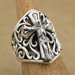 Image 4 - 925 Sterling Silver Skull On Cross Mens Biker Rocker Punk Ring 9W006 US Size 7 to 15