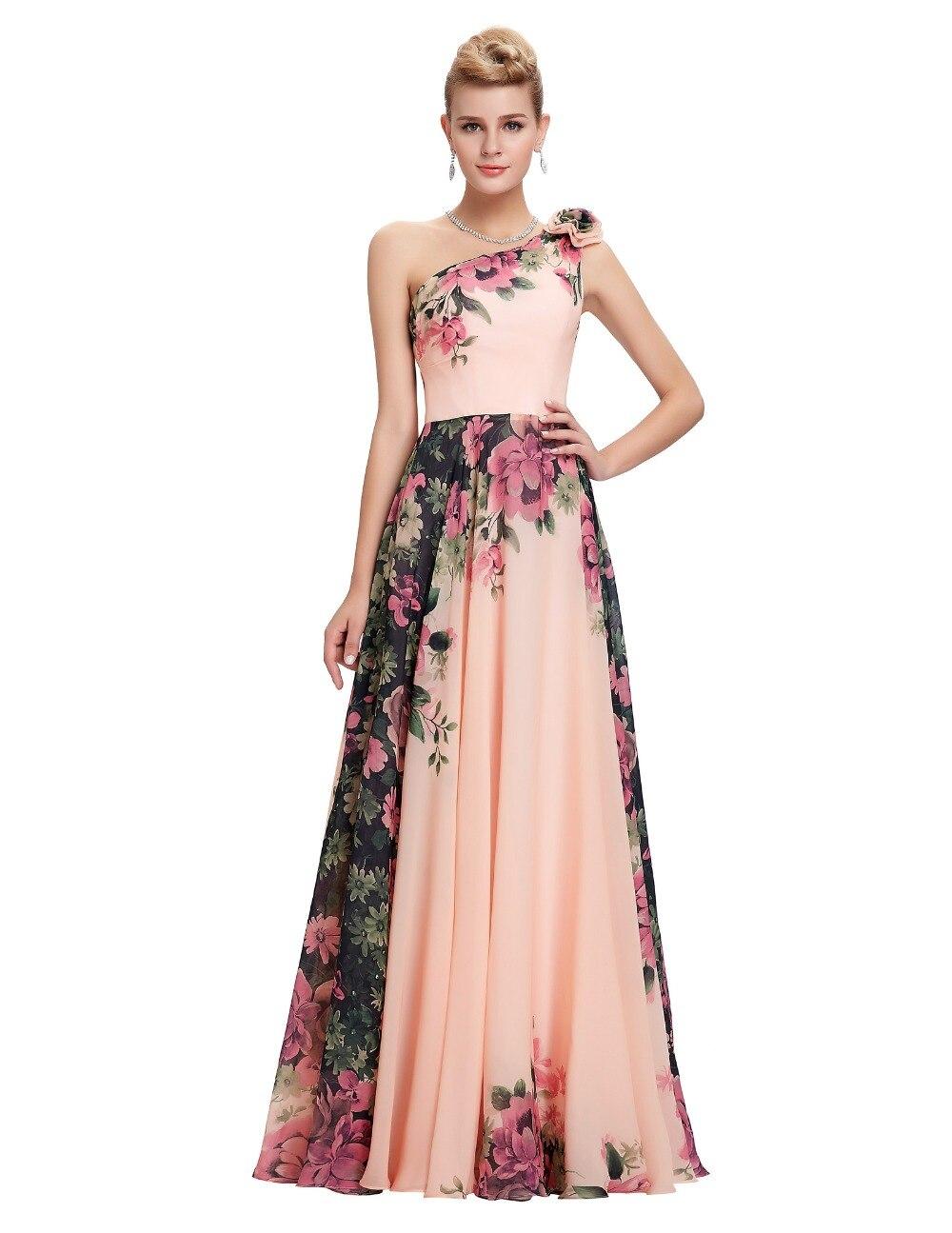 Más el Tamaño 24 W Largo Vestidos de Noche Patrón Floral de la Flor de Largo