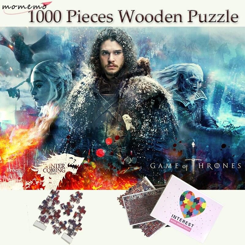 MOMEMO jeu de trônes en bois 1000 pièces Puzzle personnalisé Puzzles John neige Puzzles pour adultes adolescents enfants jouets cadeau