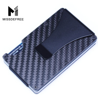 Carbon Fiber RFID Mini Slim Wallet Money Clip Metal Aluminum Business Credit Card ID Holder With