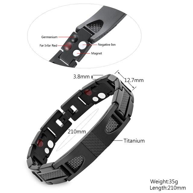 Эскалус Магнитный чистый титановый черный браслет для мужчин