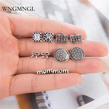 WNGMNGL 5 Pairs/Set Vintage Stud Earrings Fashion Antique Sliver Geometric Mom Crown Bowknot Crystal for Women Jewelry